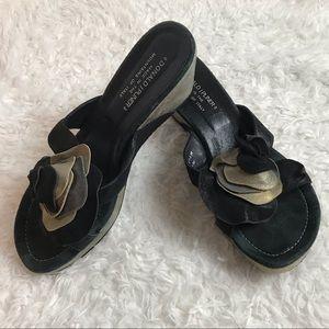 Donald Pliner Suede Wedge Thong Sandal